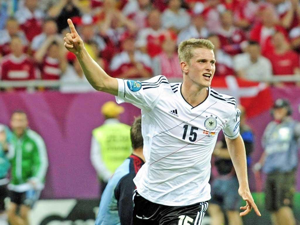 Lars Bender celebrates scoring Germany's winning goal