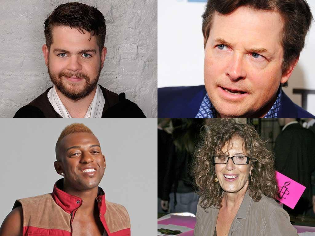 Ill health (clockwise from top left): Jack Osbourne, Michael J Fox, Anita Roddick and Oritsé Williams of JLS