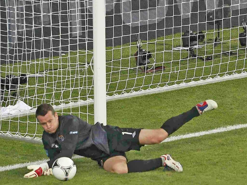 <b>Shay Given: </b> Fumbled a relatively straightforward effort in the build-up to Cassano's goal and looked nervy throughout. Perhaps a tournament too far for a great servant of Irish football. 4