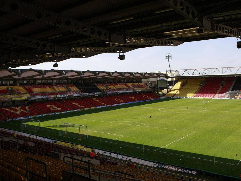 A view of Watford stadium, Vicarage Road