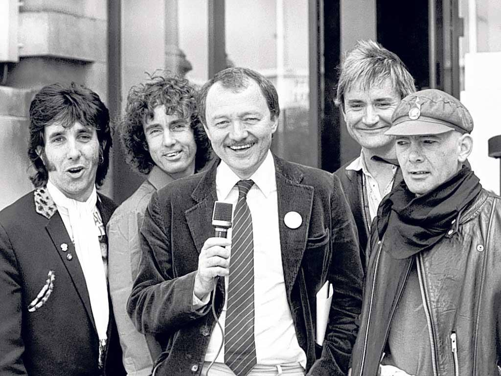 Ken and the Pickets: from left, Hibbard, David Brett, Ken Livingstone, Rick Lloyd and Red Stripe in 1984