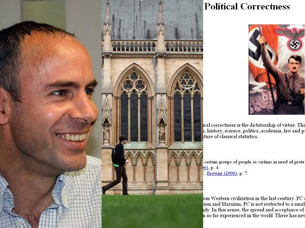 Martin Sewell, an economics supervisor at Cambridge. Far right, the 'Political Correctness' section of his website
