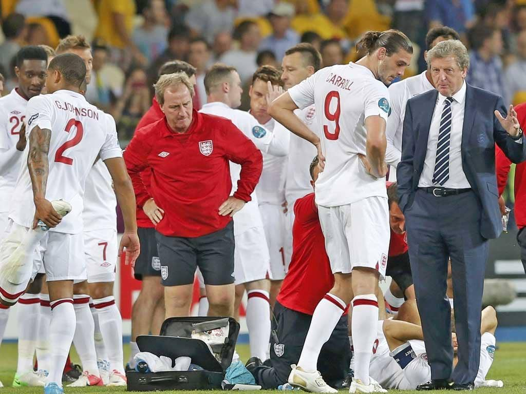 Roy Hodgson issues orders to Andy Carroll before extra time last night