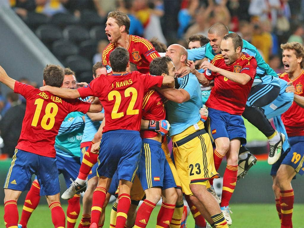 The Spain players celebrate reaching yet another international tournament final