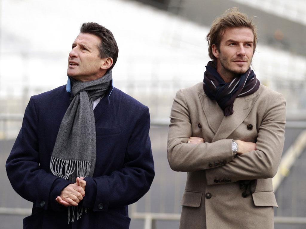 David Beckham with Seb Coes at the Olympic Stadium