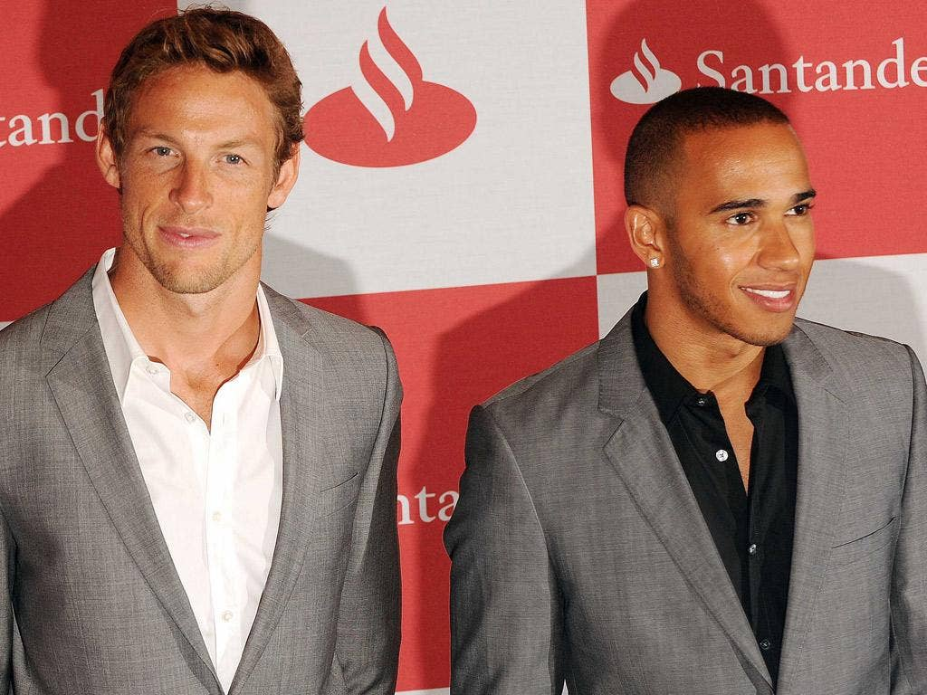 Ups and downs: Lewis Hamilton (right) won at Silverstone in 2008 but Jenson Button has been thwarted on 12 occasions
