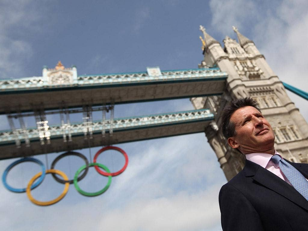 Lord Coe unveils the Olympic rings last week