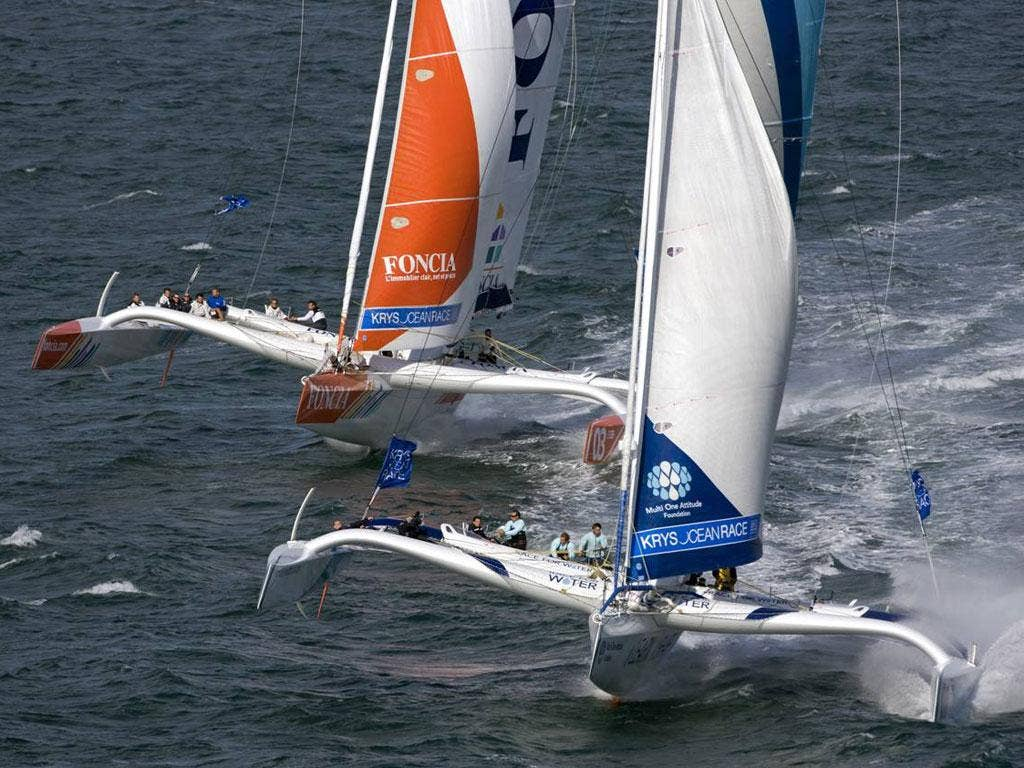 The MOD70 trimarans make their international debut in the Krys Ocean Race from New York to Brest, starting this weekend