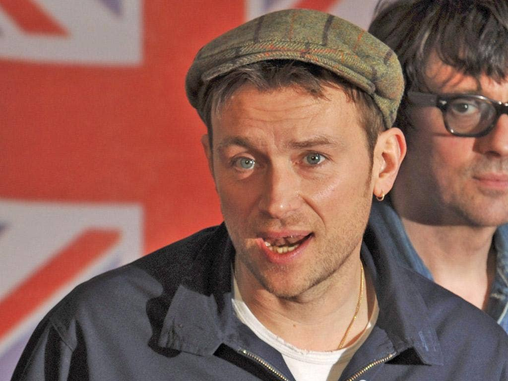 """""""Under the Westway"""" single was first played by Damon Albarn (pictured) and guitarist Graham Coxon in February"""