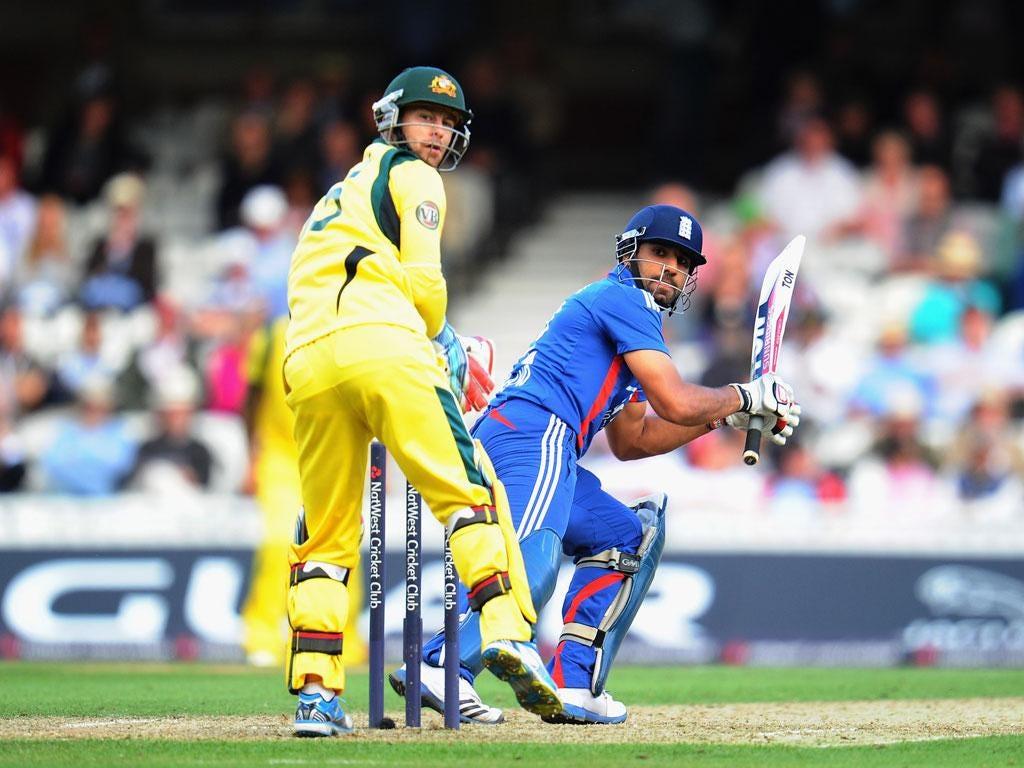 Ravi Bopara in action against Australia
