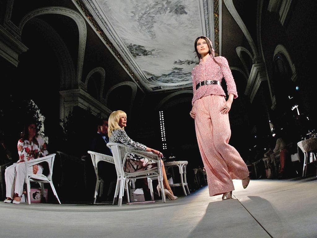 A model catwalks for Chanel's Haute Couture Fall-Winter 2012-2013 collections show yesterday at Grand Palais in Paris
