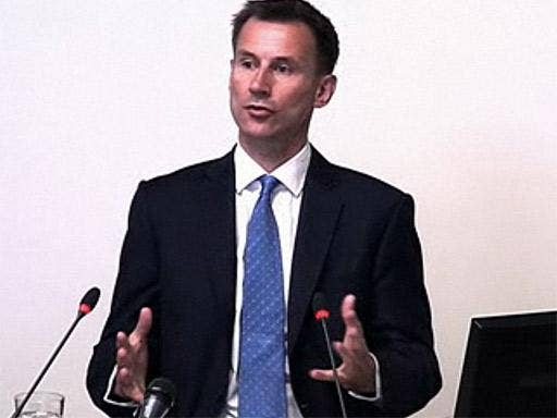 The Culture Secretary, Jeremy Hunt, giving evidence at the Leveson Inquiry last month