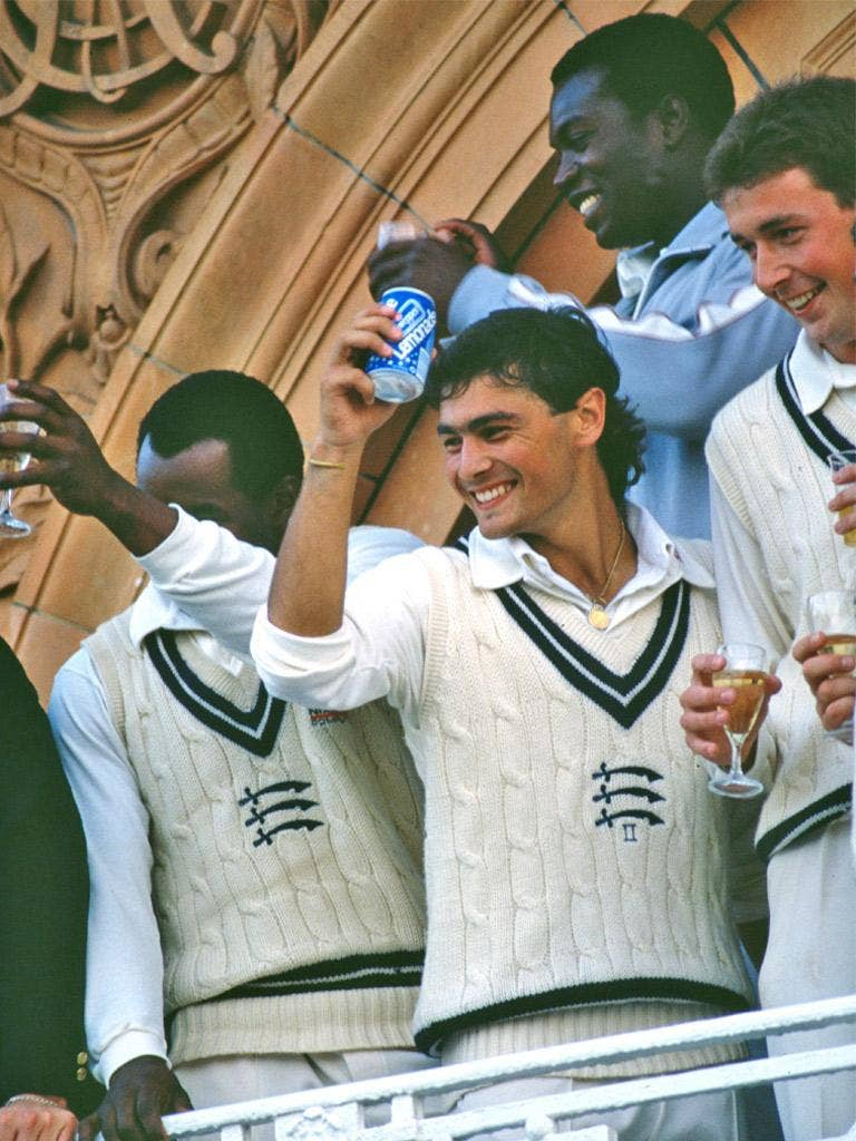 The boy with the cap enjoys the celebrations after helping Middlesex to the Natwest Trophy in 1988