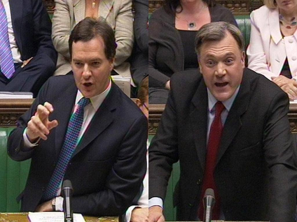 Fighting Talk: George Osborne (left) and Ed Balls clash in the Commons on Thursday