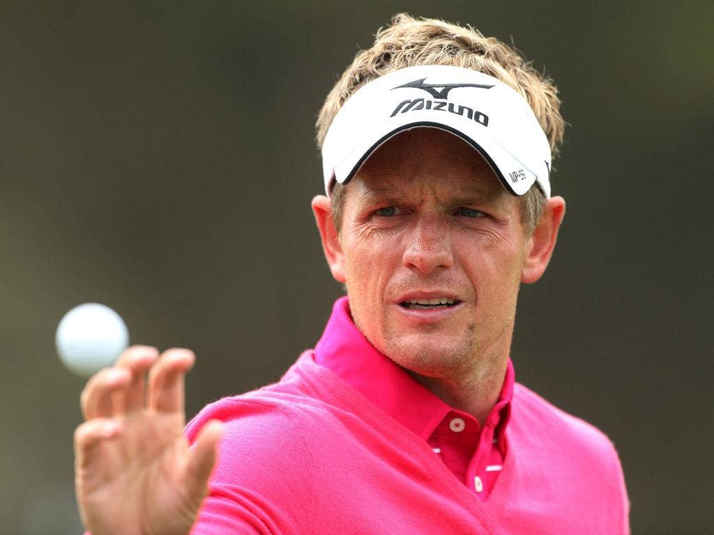In the pink: 'You need one guy to inspire a generation,' says Luke Donald, who wants to emulate Nick Faldo