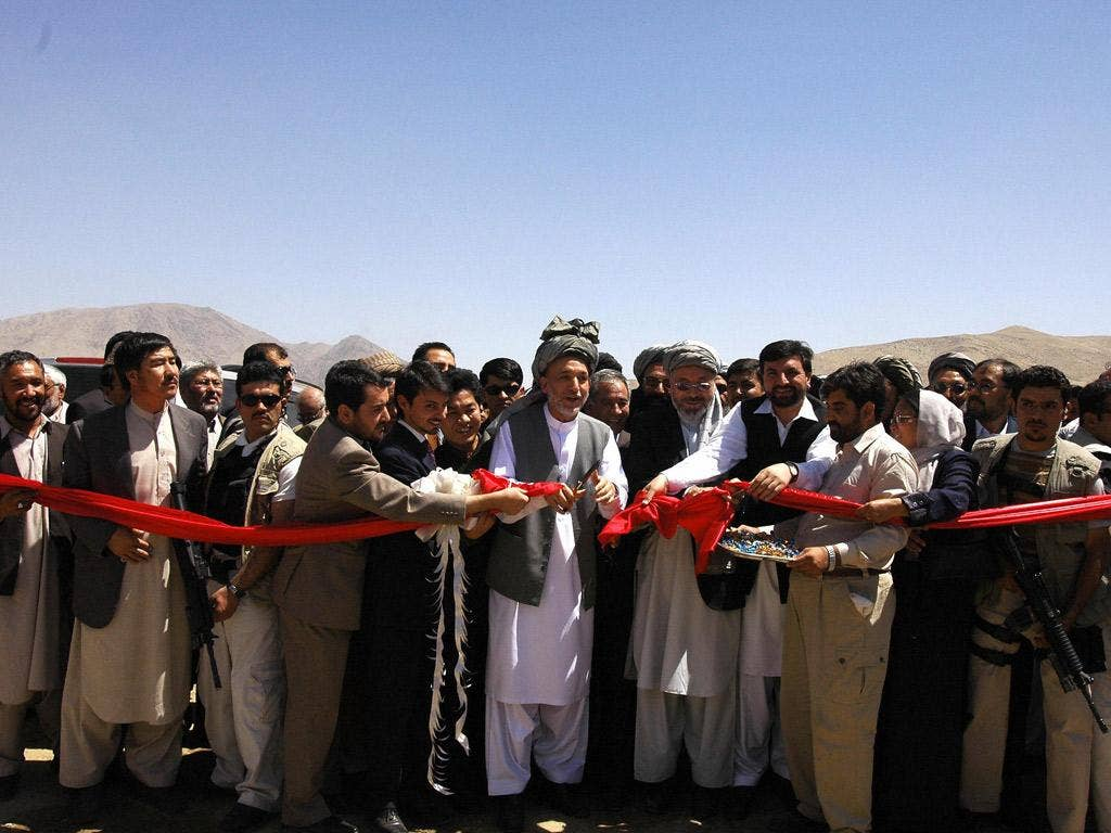 Highway 1: Hamid Karzai inaugurating a new section of the road