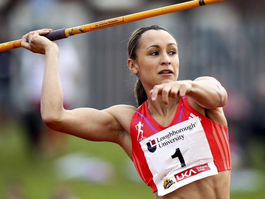 Heptathlete Jessica Ennis competes in the javelin in Loughborough on Saturday