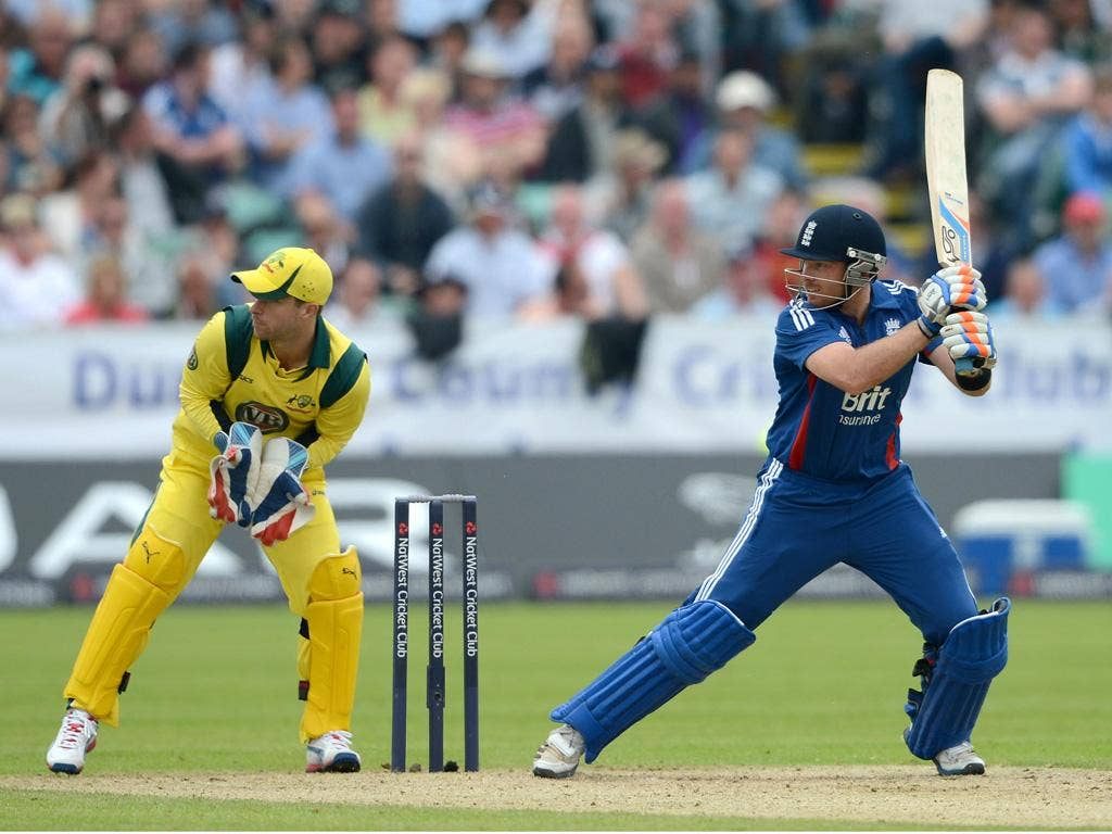 Ian Bell hits out on his way to 69 against Australia on Saturday