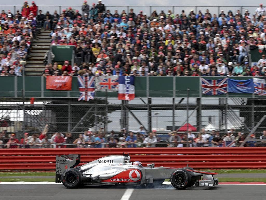 Lewis Hamilton on his way to a disappointing eighth at Silverstone