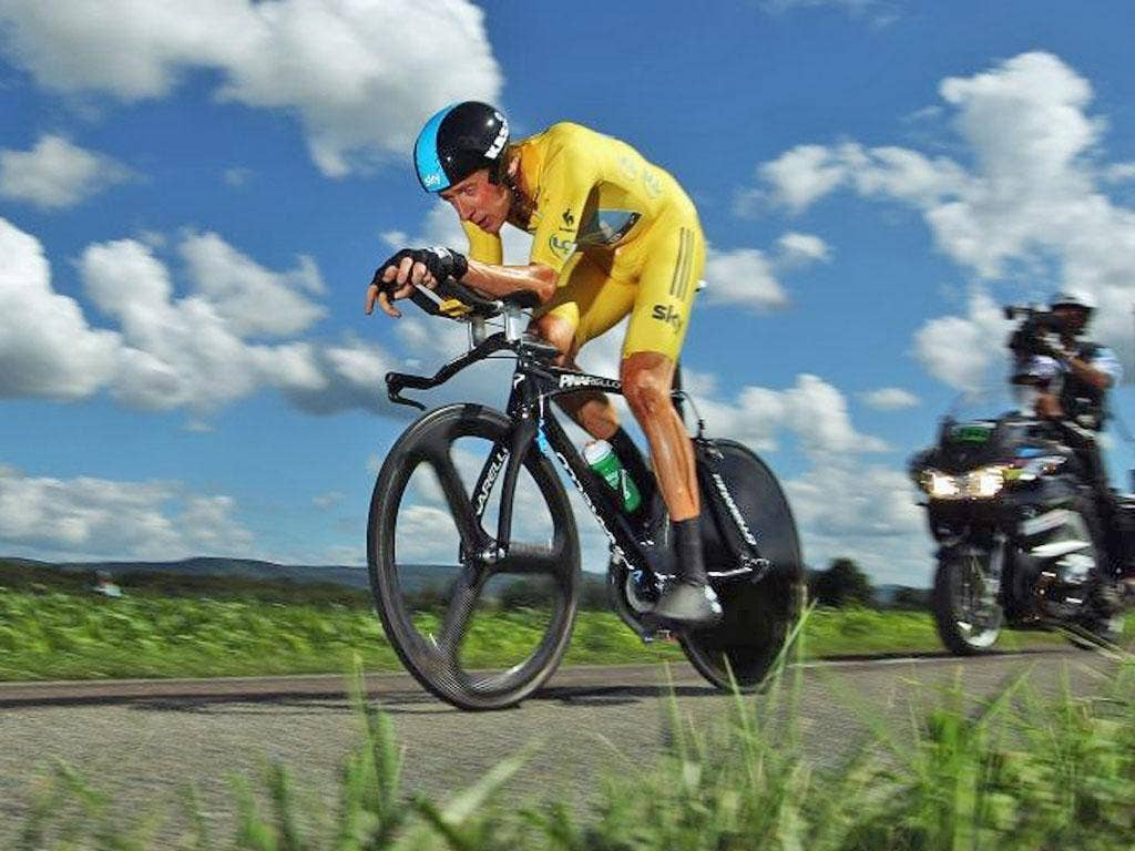 Bradley Wiggins on his way to winning stage nine of the Tour de France