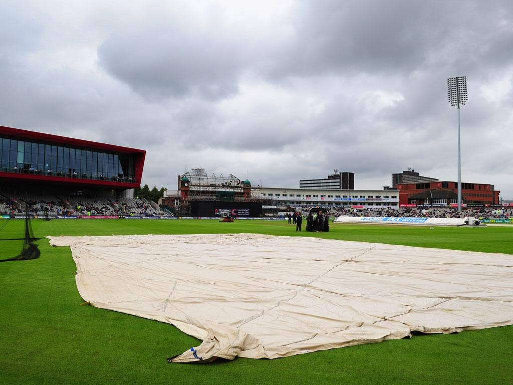 A view of the wet scenes at Old Trafford