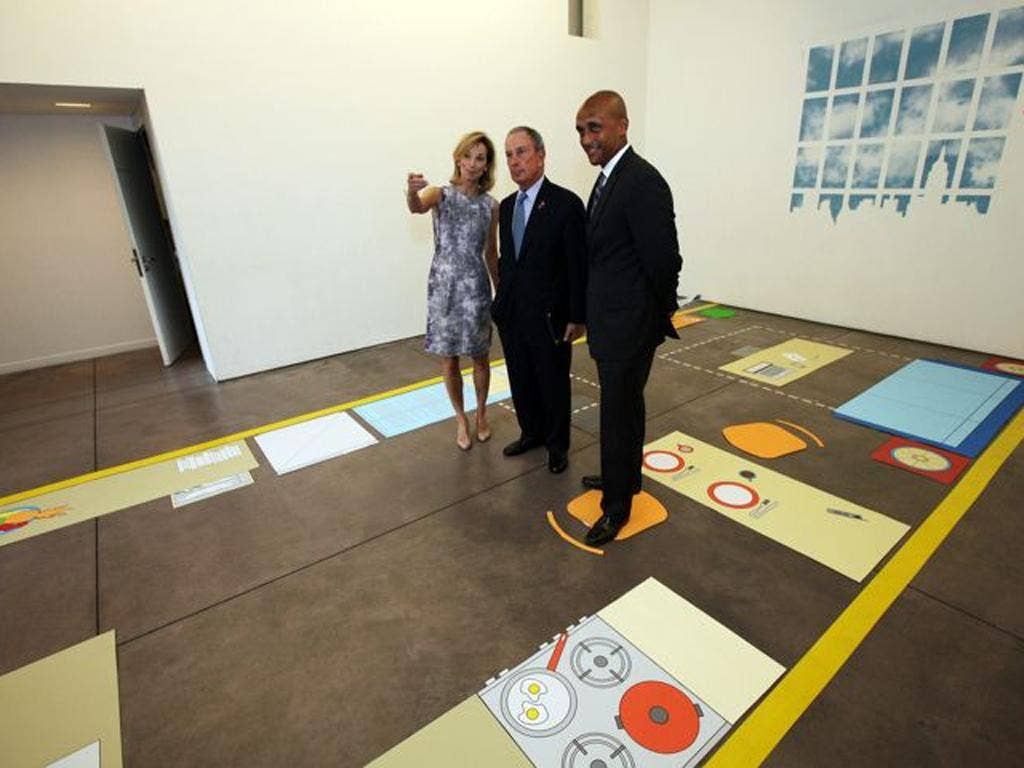New York Mayor Michael Bloomberg and a floor-plan of the 300ft apartment