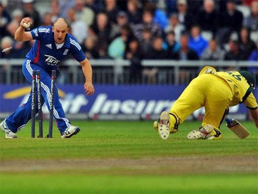 Australia's James Forrest is run out by James Tredwell at Old Trafford