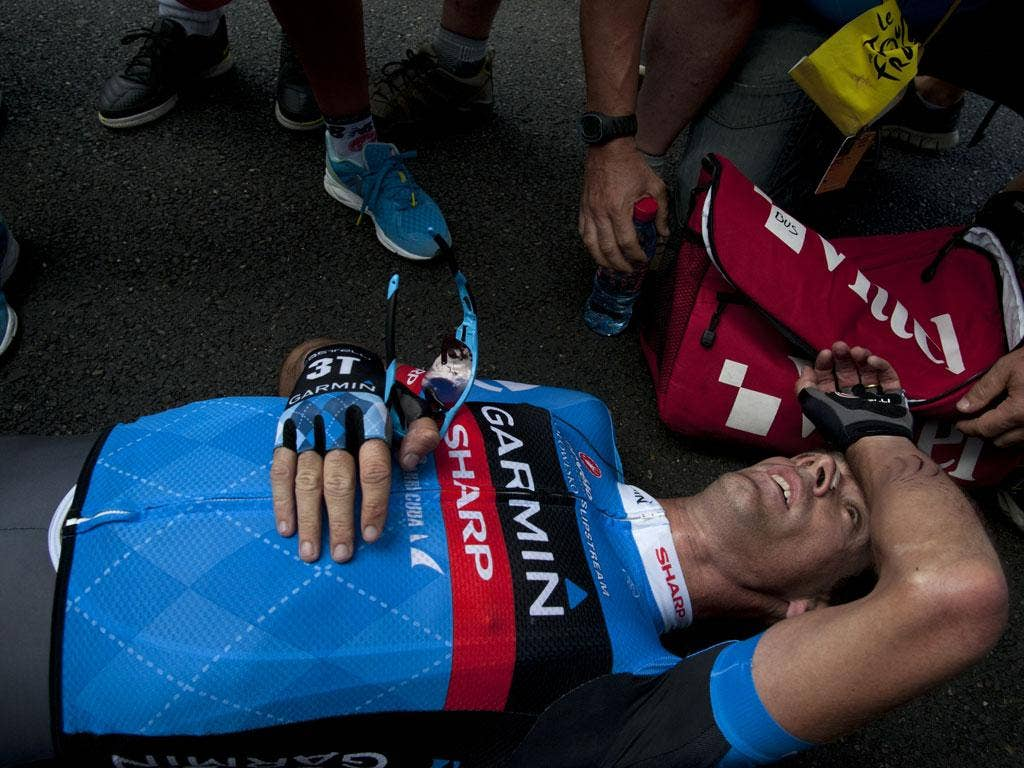 Great Britain's David Millar, reacts after crossing the finish line at the end of the 226 km and twelfth stage of the 2012 Tour de France