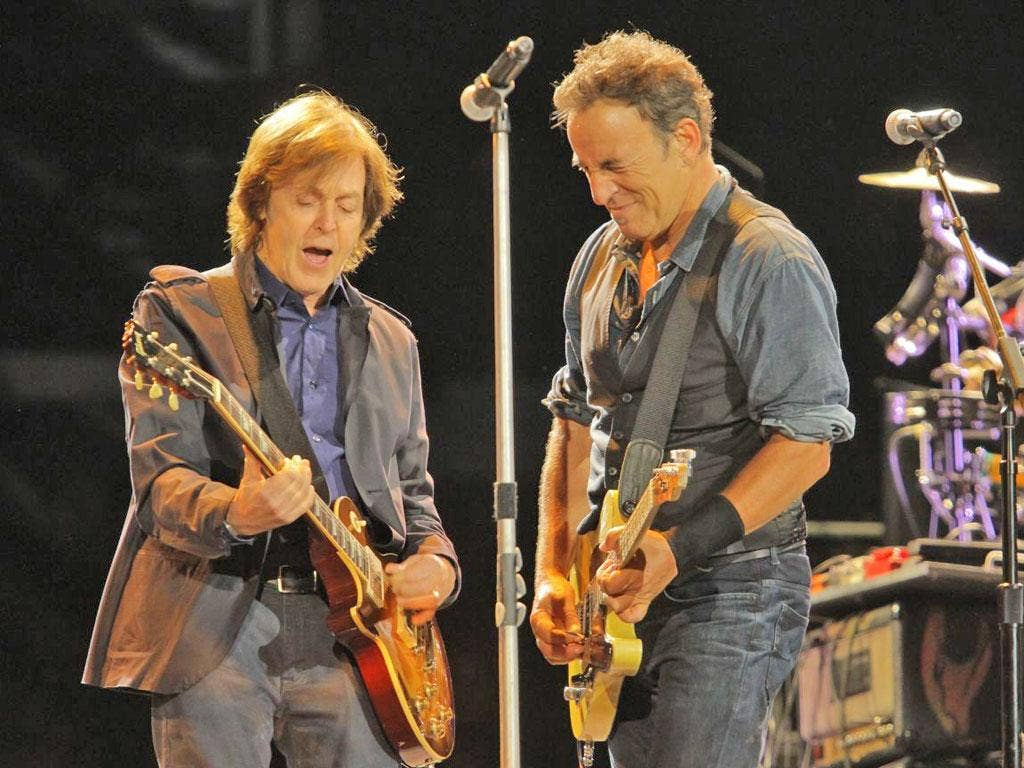 McCartney joins the stage and plays a series of Beatles hits