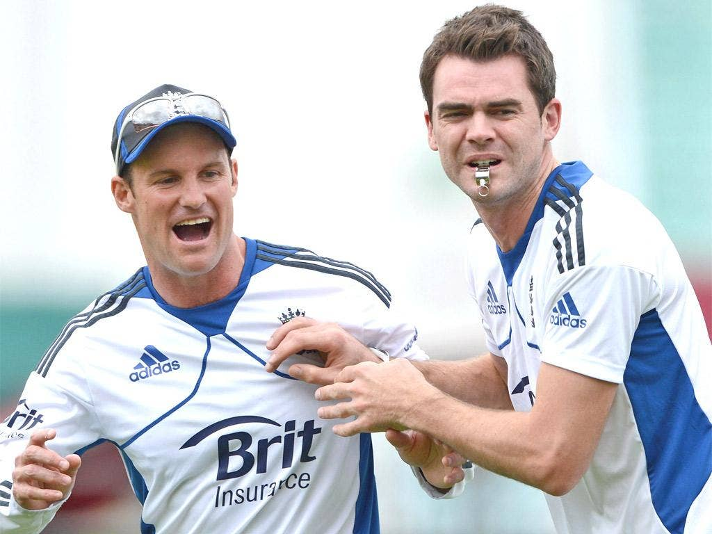 Andrew Strauss and Anderson are all smiles at nets yesterday