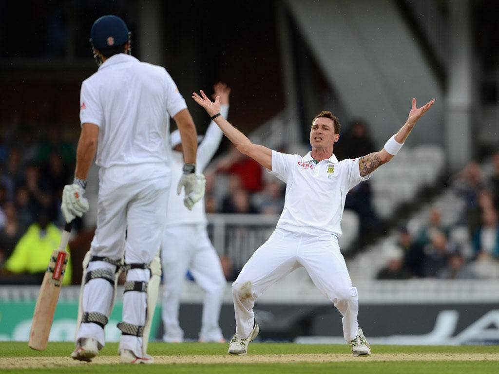 Dale Steyn appeals in vain for a wicket on day one of the series