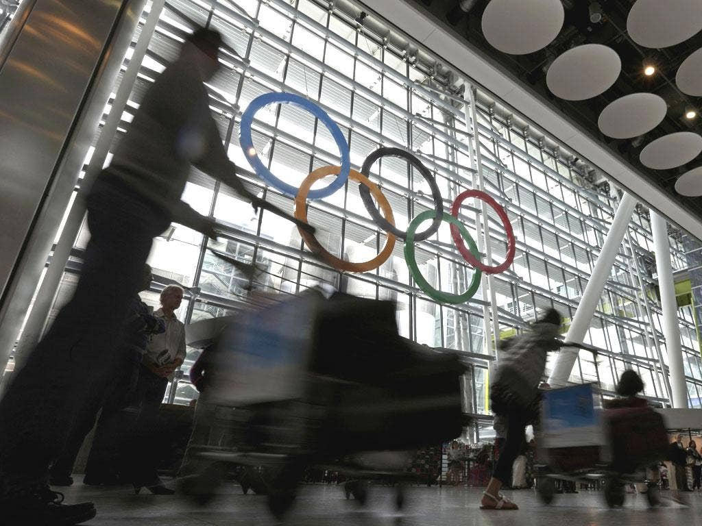 The Olympic rings welcome arrivals to London Heathrow