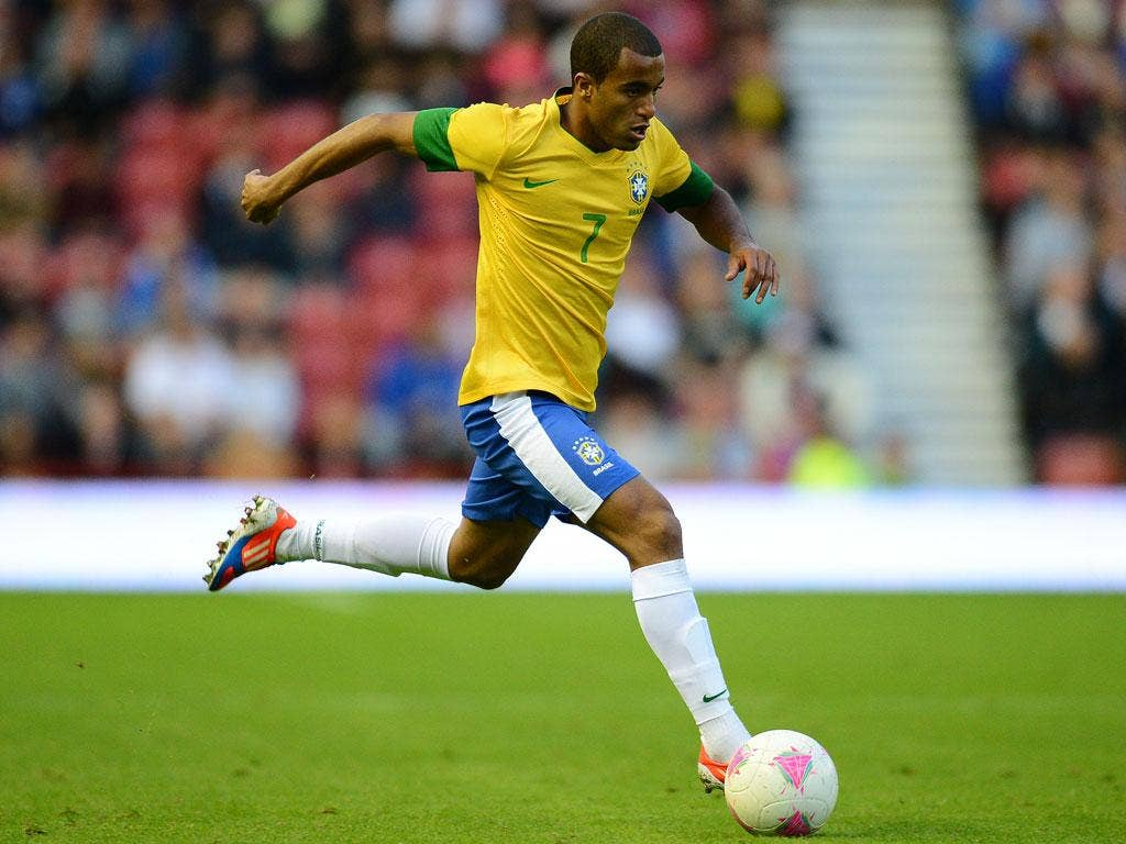 Lucas Moura in action for the Brazil Olympics side