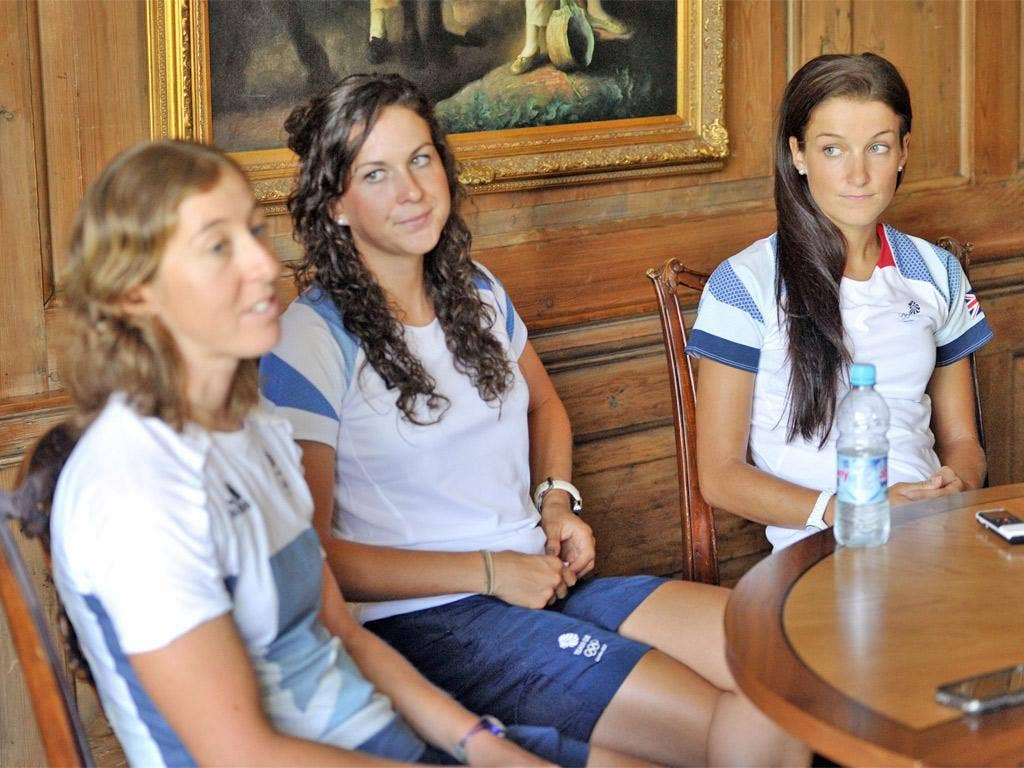 Team GB's finest, from left, Nicole Cooke, Lucy Martin and Lizzie Armitstead speak to the press yesterday