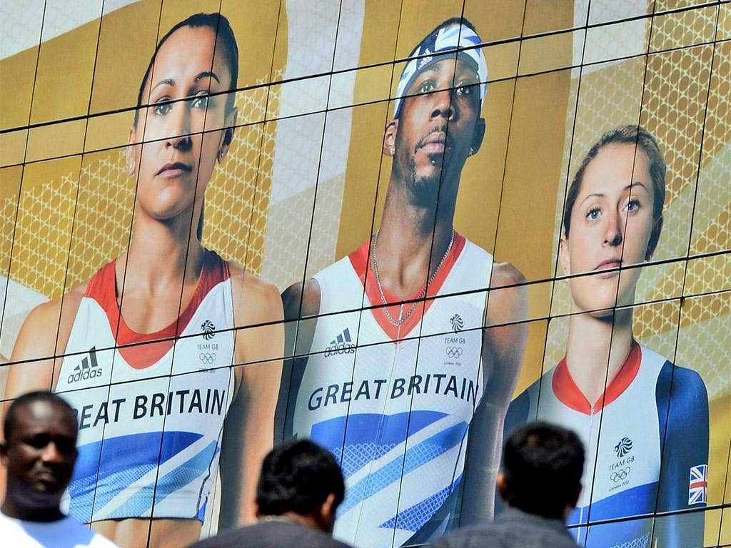 Phillips Idowu looms large over visitors to the Westfield Centre near the Olympic Park yesterday