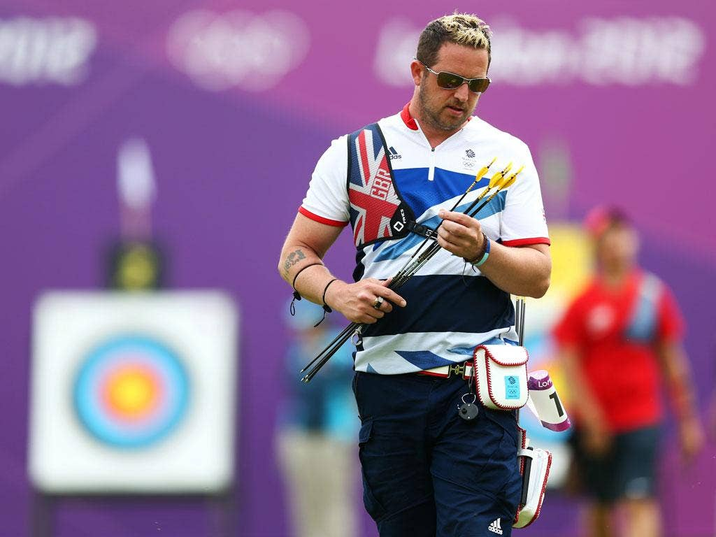 Off target: Larry Godfrey, British archer. His team was knocked out by Ukraine
