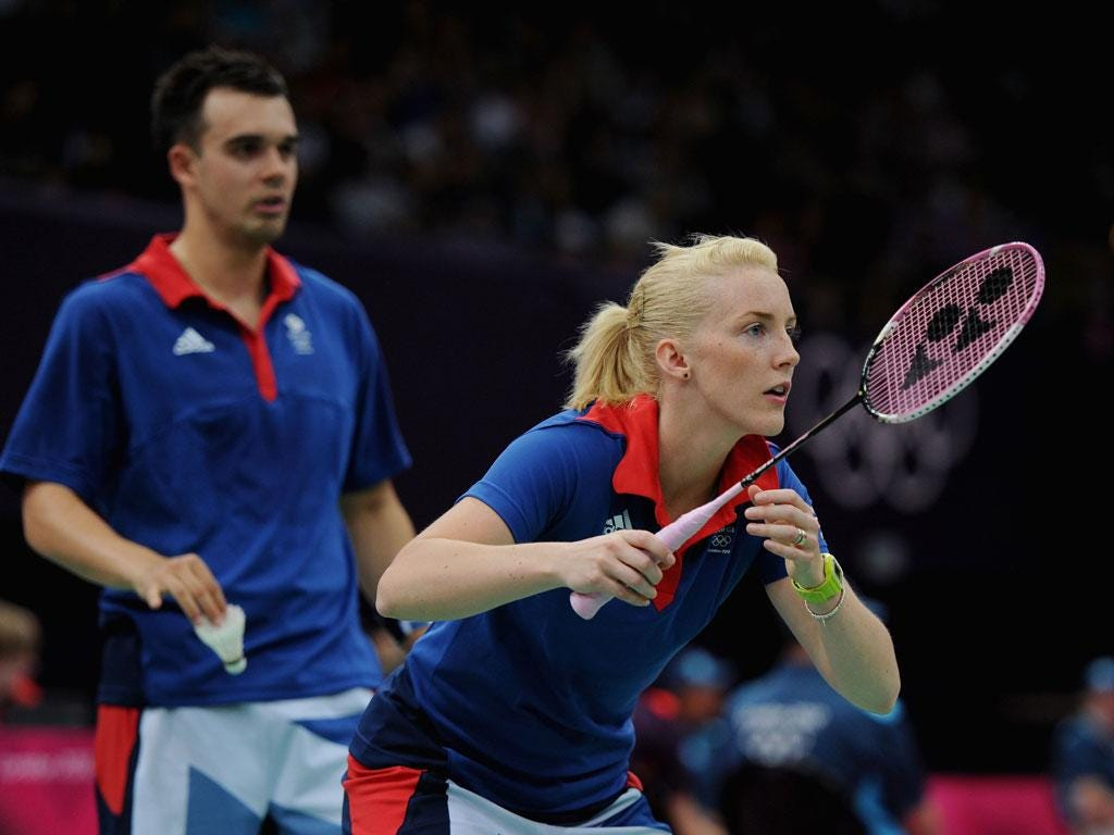 Sunday July 29: Chris Adcock and Imogen Bankier of Great Britain slip to defeat at badminton