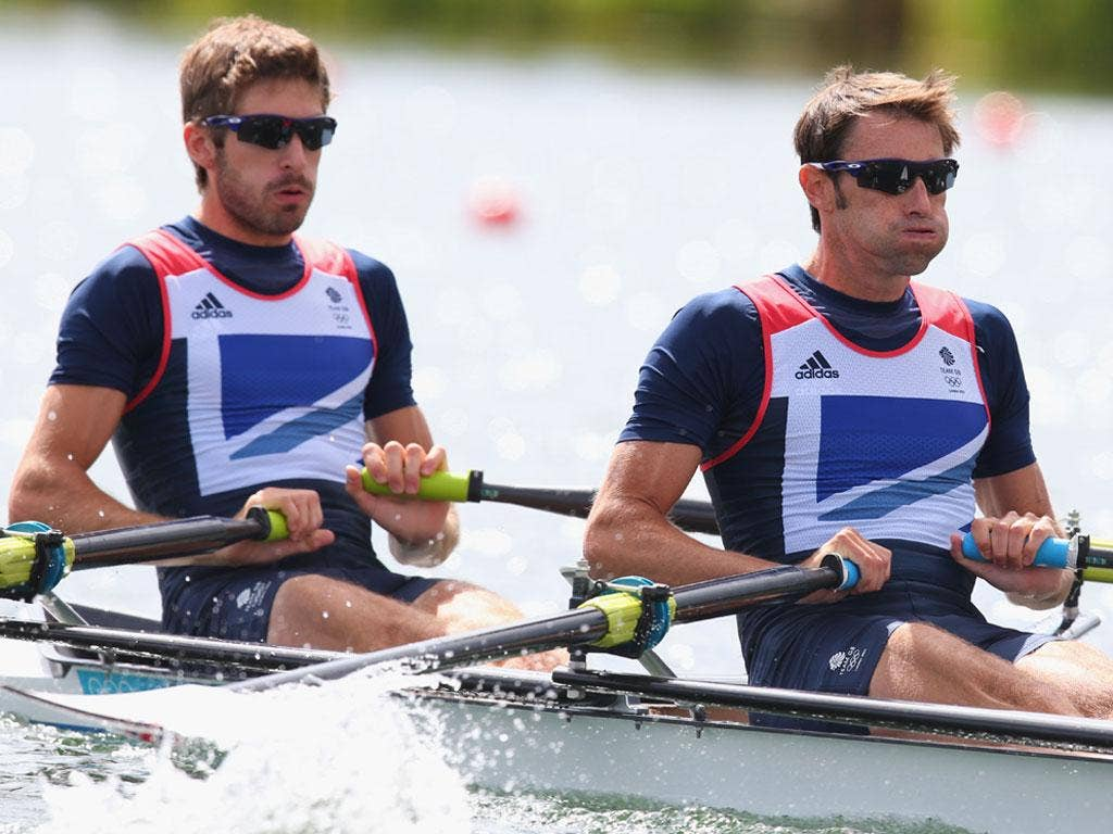 Sunday 29 July: Zac Purchase and and Mark Hunter of Great Britain compete in Heat 2 of the Lightweight Men's Double Sculls