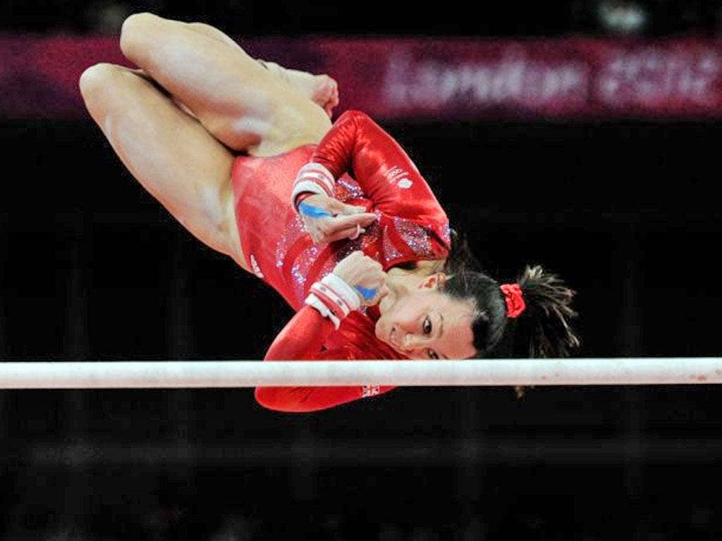 Beth Tweddle puts on a suberb display on the uneven bars yesterday