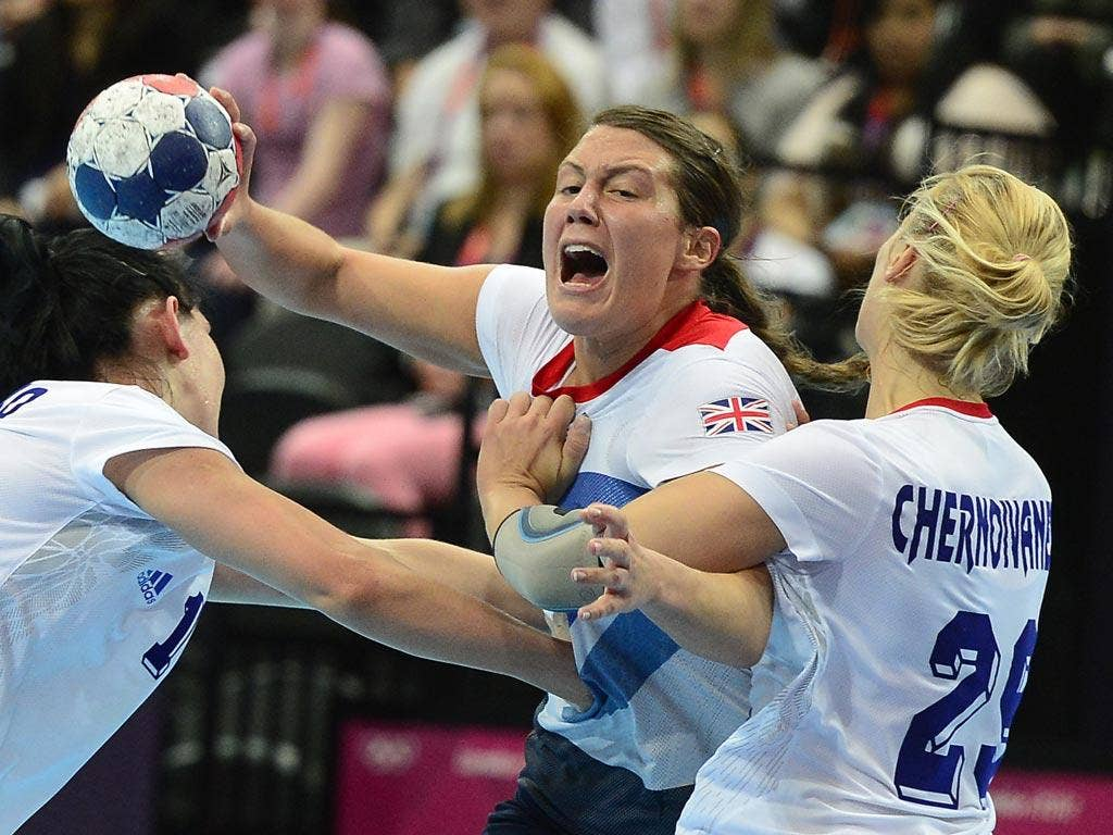 July 30, 2012: Things get rough in the handball as Team GB are beaten by Russia