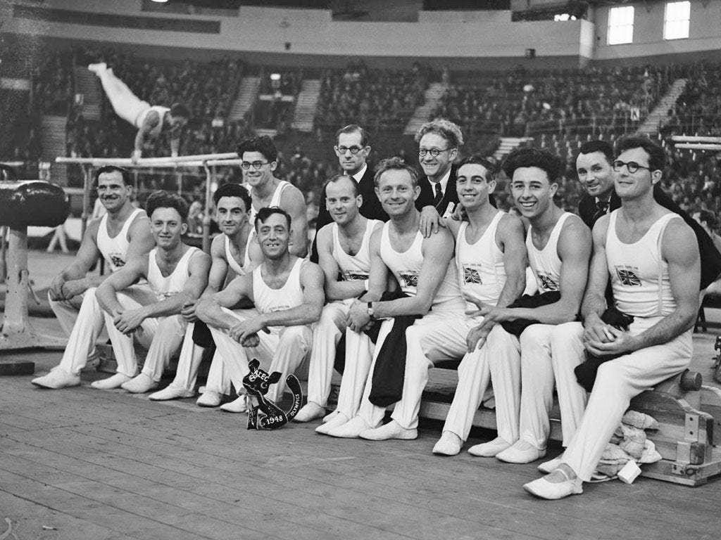 The British gymnastics team at the 1948 Olympic Games in London