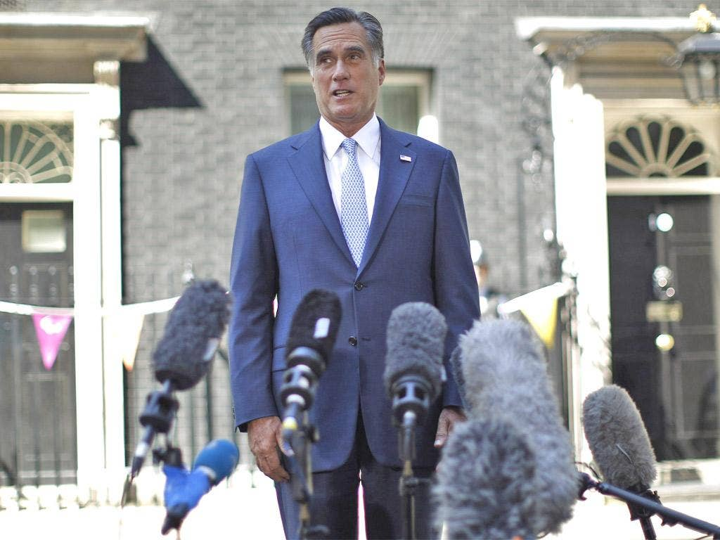 Mitt Romney talks to the media at Downing Street last week