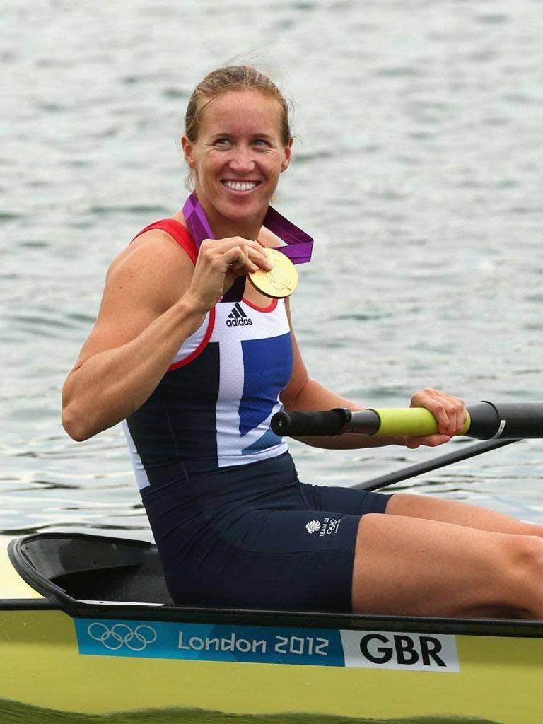 Helen Glover with her gold medal earlier today