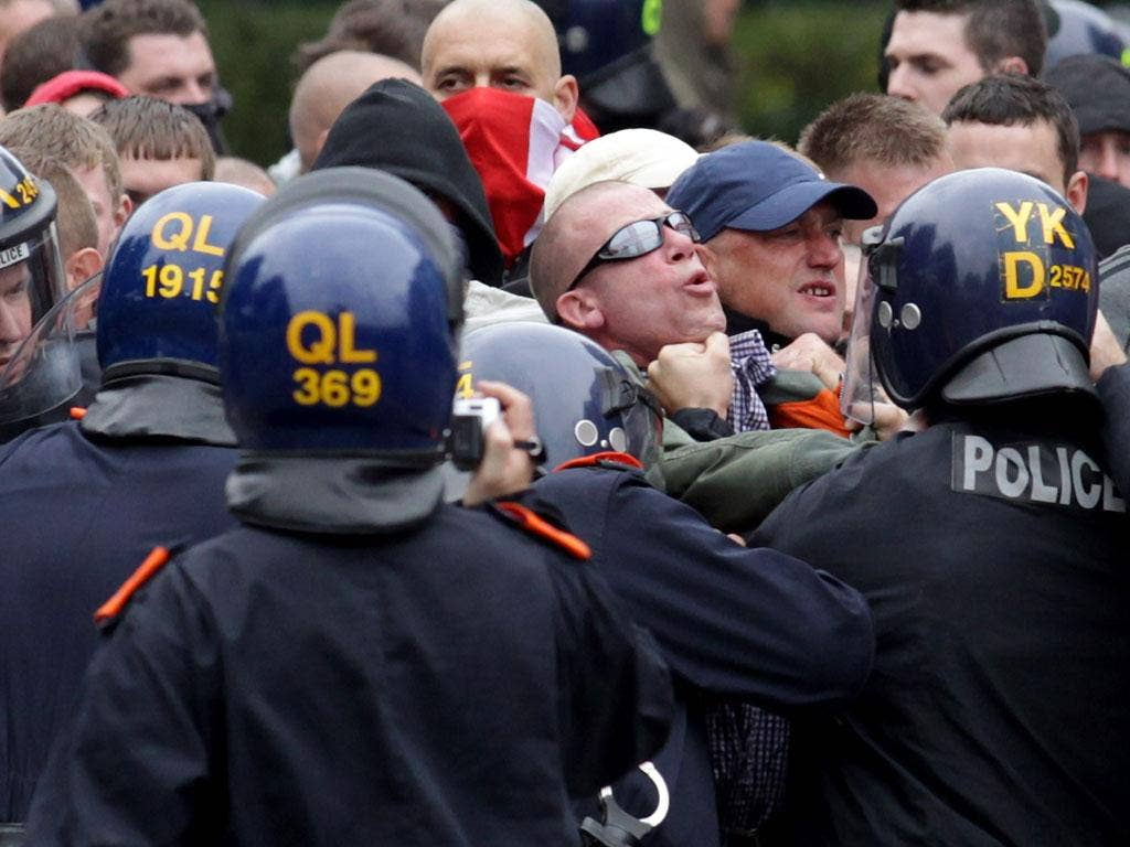 EDL protesters clash with police at a demonstration in Bristol last month