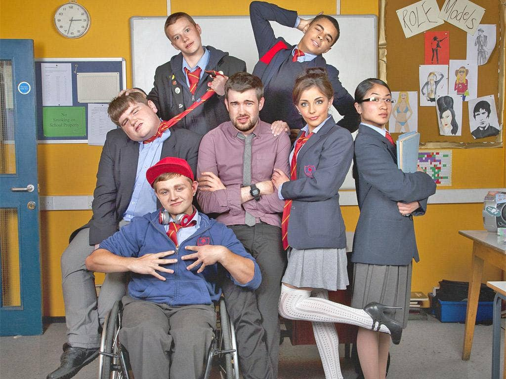 On their marks: Jack Whitehall and the young cast in 'Bad Education'