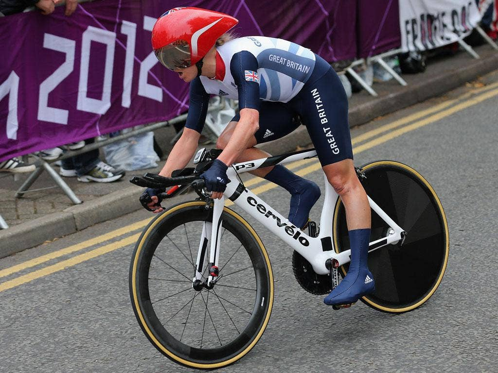 Great Britain's Emma Pooley in action in today's women's time trial
