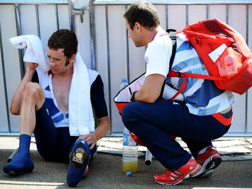 "Coach: ""I'm sorry to say Bradley, but because of the Olympic Road Network restrictions, you're going to have to cycle home."" (03/08/12) <br/><br/> <a href=""http://www.independent.co.uk/captions"" target=""new"">To enter the current caption competition, click"