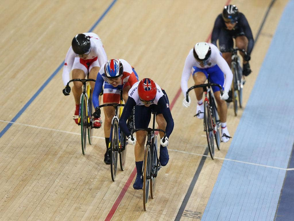Friday 3, August: Victoria Pendleton of Great Britain, Clara Sanchez of France, Shuang Guo of China, Ekaterina Gnidenko of Russia and Natasha Hansen of New Zealand compete in the Women's Keirin Track Cycling