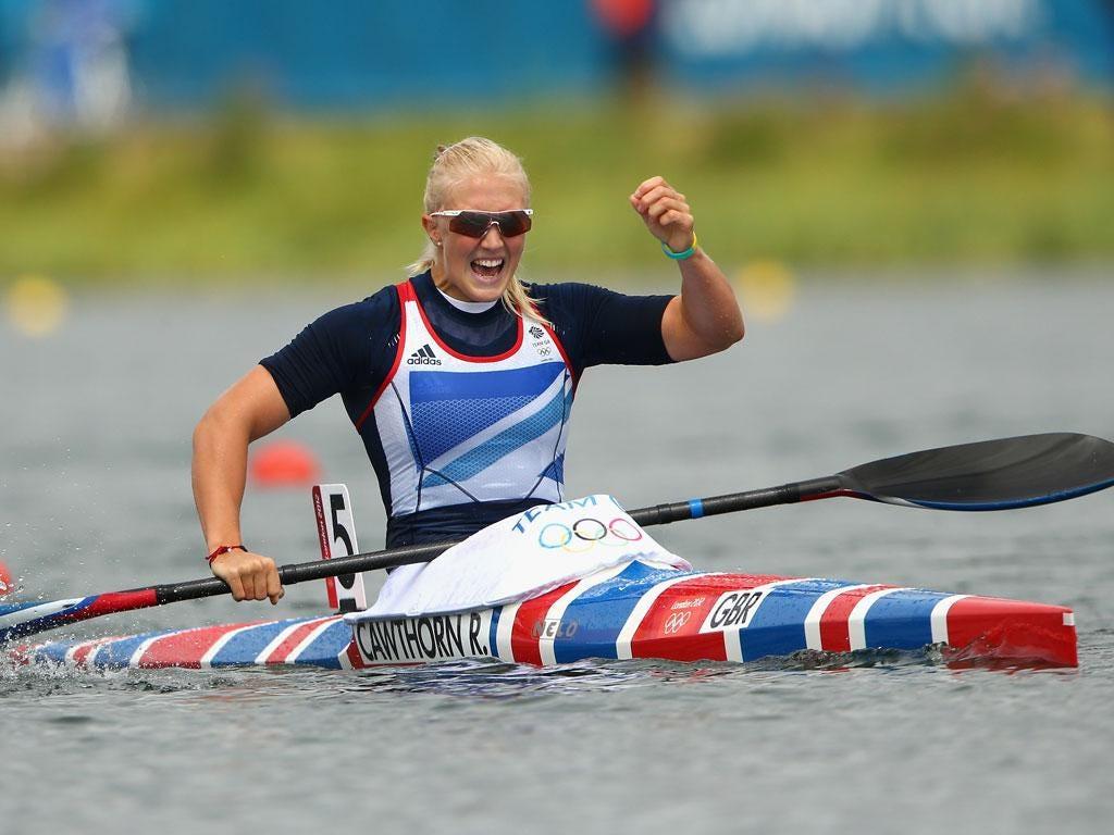 Rachel Cawthorn celebrates her progress to the final