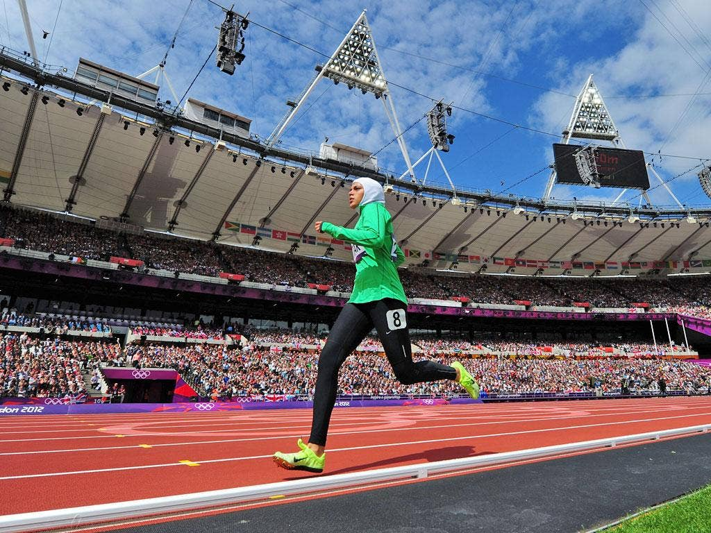 August 8, 2012: California-based 19-year-old Sarah Attar became the first Saudi Arabian woman to compete in athletics at the Olympics